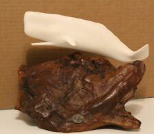 "John Perry Sperm White White Sculpture Burl Wood Base 10.5"" Long"