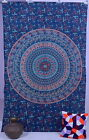 Indian Elephant Psychedelic Hippie Mandala Wall Hanging Tapestry Blue Throw
