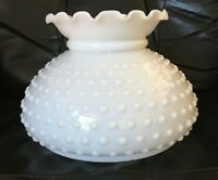 "Vintage Milk Glass Lamp Shade White Hobnail 7"" Fitter Student Aladdin Hurricane"