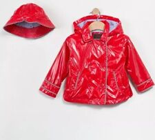 Catimini Red Oilskin Jacket With Bucket Hat Size 3