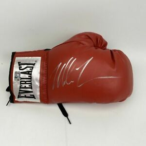 Autographed/Signed MIKE TYSON Imperfect Red Everlast Boxing Glove Hologram COA