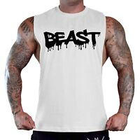 Men's Dripping Beast White T-Shirt Tank Top Gym Workout Bodybuilding Muscle V169