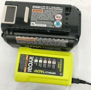 Ryobi (1) OP404 40 Volt Charger (1)OP40401 40 Volt 4Ah Lithium-ion Battery  VG
