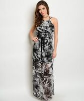 Misses Black and Gray Tie Dye Maxi Dress Size Medium NWT