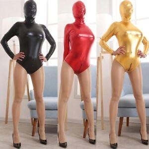 Women two Way Zipper jumpsuit Sexy PU Leather Bodysuit PVC Catsuit club Costumes