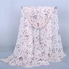 Women Neck Scarf Muffler Shawl Music Note Printed Scarf Chiffon Silk Scarf
