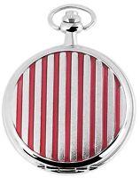 Pocket Watch Quartz White Red Silver Stripes Metal Analogue W-480822000004500