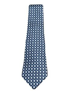 HERMES Paris Blue 100% Silk Chain Pattern Tie