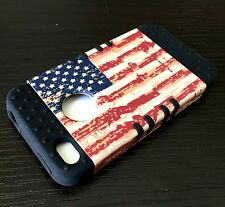 For iPHONE 4 4S -HARD&SOFT RUBBER HYBRID ARMOR SKIN CASE COVER U.S AMERICAN FLAG