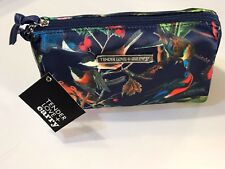 NEW BLUE SATIN BIRD DOUBLE ZIP COSMETIC MAKEUP BAG POUCH CLUTCH POUCH