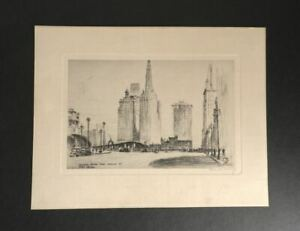 1930 Chicago Etching Wacker Drive From Wells St. Illinois Artist Allen M. Weary