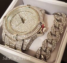 Mens Hip Hop Iced Out Rapper Bling White Gold Pt Watch & Cuban Bracelet Gift Set