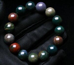 14mm 100% Natural Ocean Jasper Agate Round Beads Bracelet AAAA