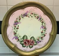 VINTAGE Toleware Tray HAND PAINTED FLOWERS Signed And Dated Pink Shabby Decor