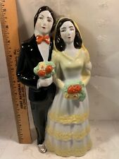 Vintage Large Bride Groom Wedding Figurine Statue Porcelain Both With Bouquets