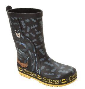 BOYS BATMAN DC COMICS WELLIES RAIN WELLINGTON BOOTS KIDS WELLYS UK SIZE 8-2