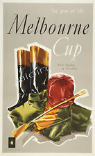 "AUSTRALIA HIGH QUALITY RETRO VINTAGE ""MELBOURNE CUP"" TRAVEL POSTER PRINT"