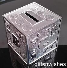 Money Box Silver Plated ABC Alphabet Baby Shower Christening