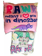 Warm And Cuddly Dinosaur Blanket And Squishy Pink Dinosaur  Pillow NEW