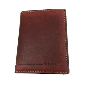 Fossil Allen Trifold RFID Tan Brown Leather Mens Wallet NEW SML1550231