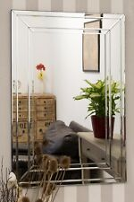 Modern All Glass Large Bevelled Wall Mirror 60cm X 90cm
