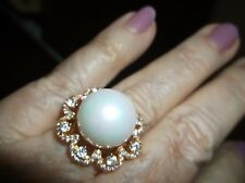 Ring-- Sz 7, LARGE12MMperfect shell pearl in gold plated setting, CZs