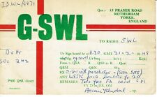 Old QSL from Brian Kendal, Fraser Rd, Rotherham, Yorks (G-SWL) (21/2/1948)