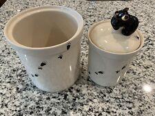 Big Sky Carvers Bearfoots 2 of 3 Piece Set Black Bear Canister Jars, Mint.