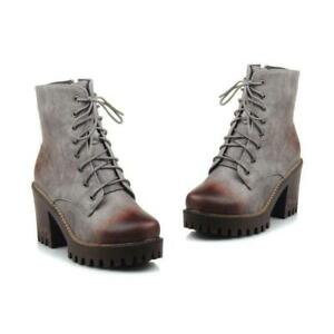 Vintage Women British Block Heel Lace Up  Round Toe Ankle Combat Boots Shoes New