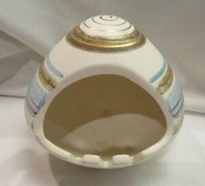 Sascha Brastoff B Pottery Ashtray Chimney Vintage Gold Blue Igloo California