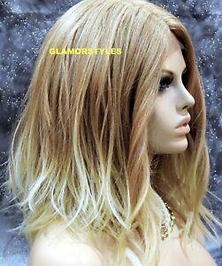 Human Hair Blend Bob Layered Medium Blonde Mix Lace Front Full Wig Hair Piece