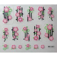 Accessoire ongles : nail art- Stickers autocollants, fleurs roses sur tige noire