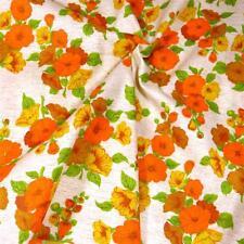 "36"" W Vintage Cotton Fabric Orange Gold & Yellow Flowers on Cream, Per 1/2 Yd"