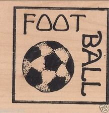 Papercraft4you Mary Hughes Football Rubber stamp wood wooden block