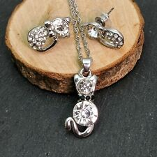 Cat Silver Plated White Crystal Necklace & Earrings Set