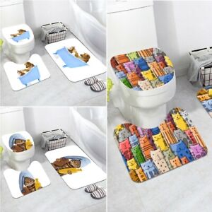 CAT 3PC SOFT BATHROOM SET BATH MAT CONTOUR RUG TOILET LID COVER NEW