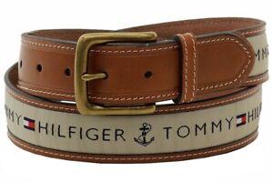 Tommy Hilfiger Men's Khaki Ribbon Inlay Fashion Leather Belt