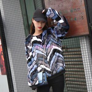 Winter Warm Real Mink Fur Fleeces Sweaters Womens Multi Color Long Sleeve Coats