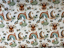 50x180 BOHO Braun/Grün Fuchs Tiere Stoff Sommersweat French Terry Kinderstoff