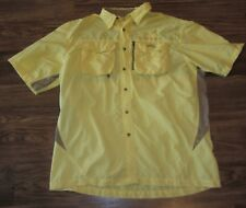 Natural Gear Mens Short-Sleeve Button-Front Fishing Shirt, Yellow, Size L, EUC