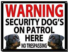 Avvertenza di sicurezza DOG'S su PATROL qui smaltata cartello in metallo, sicurezza, di avvertimento.