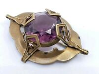 Antique Victorian Celtic Large Amethyst Glass Brooch Pin