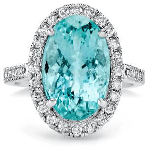 Certified 6.80cttw Aquamarine 0.72cttw Diamond 14KT White Gold Ring