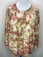 Womens Talbots 2X Soft Pink Tab Floral Beaded 3/4 Sleeve Cardigan Sweater