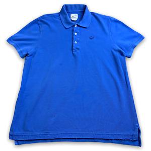 Lacoste Vintage Washed Men's Polo Shirt Crocodile Short Sleeve Large Blue Size 6