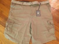 BEVERLY HILLS POLO CLUB Mens SZ42-46 Khaki Stretch BLTD CARGO SHORTS NWT
