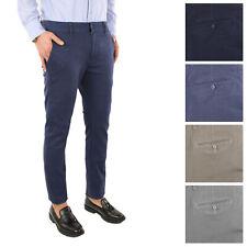 Pantalone Uomo Cotone Quadri Elegante Chino Micro Fantasia Jeans Casual Slim