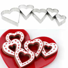 5Pcs Love Heart Stainless Steel Biscuit Pastry Cookie Cutter Cake Mould Tools