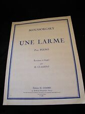 Partition Une larme pour piano Moussorgsky Grand Format