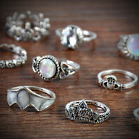 12PCS Bohemian Tibetan Opal Stone Flower Tortoise Rings Set Jewelry Hot sale